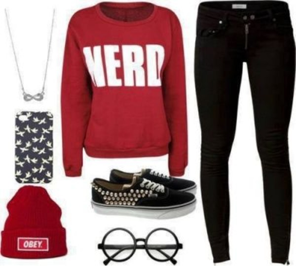 shirt nerd obey black high waisted pants nerd glasses phone cover