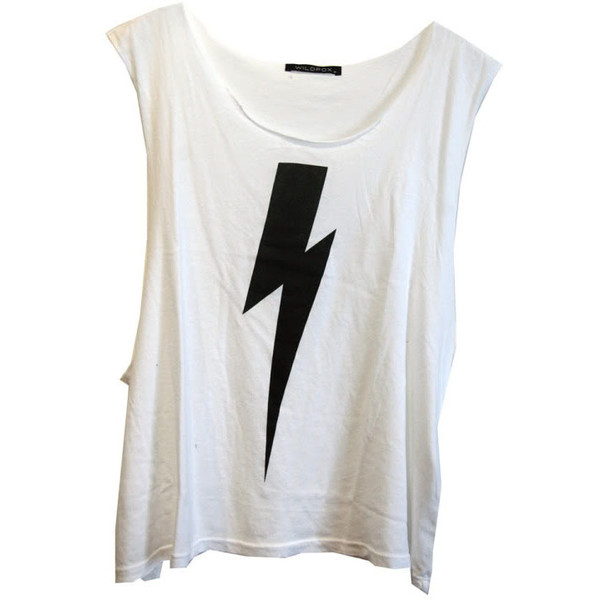 Wildfox Lightning Cut Off Tank in White - Wildfox Couture - Polyvore