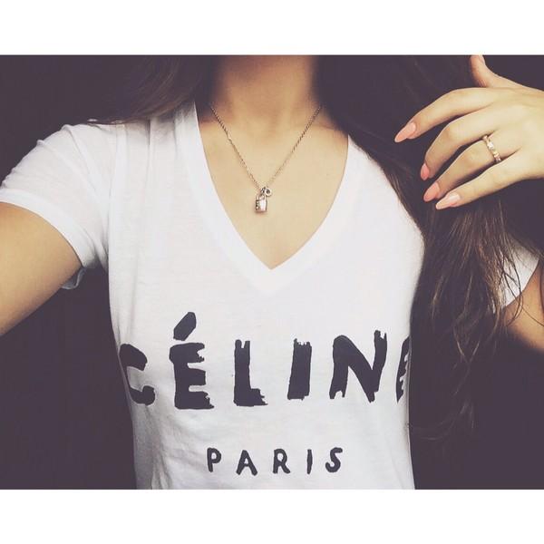 shirt celine t-shirt white