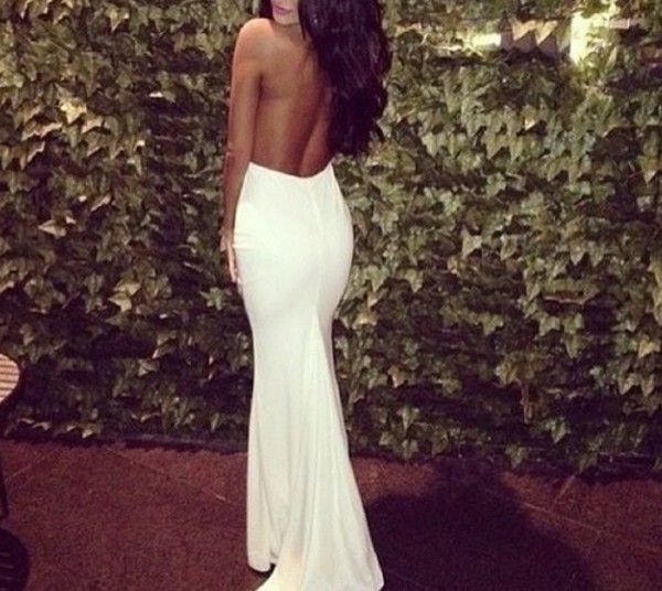 dress white backless gown gown white dress backless dress