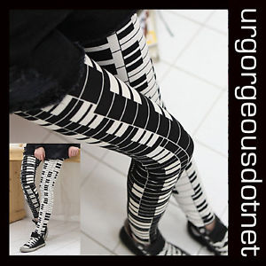 Black&White Cotton BL Piano Keyboard Music Leggings NEW | eBay