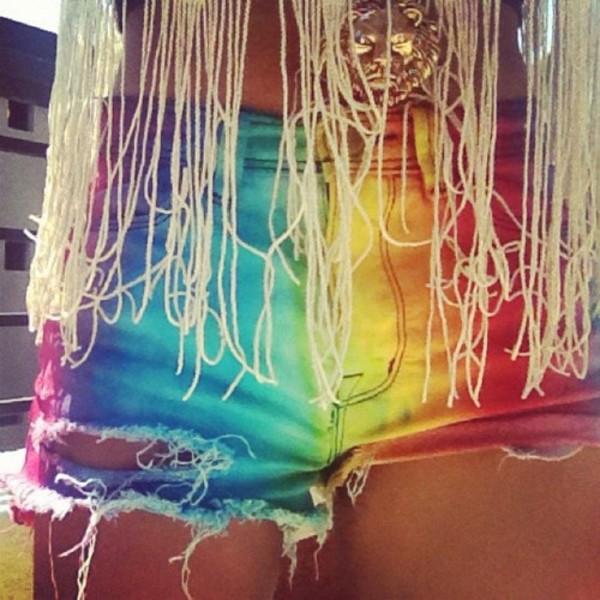 shorts multicolor tie dye rainbow summer shorts diy fringes