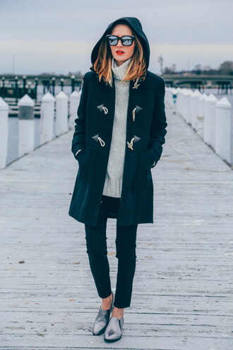 prosecco and plaid blogger coat jeans silver shoes mirrored sunglasses grey sweater duffle coat winter outfits hooded winter coat turtleneck turtleneck sweater black jeans