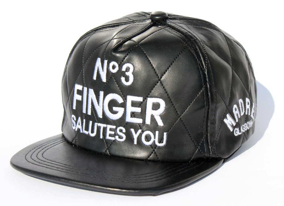 NO 3 FINGER SALUTES YOU snapback quilted leather  - MADRE Glasgow