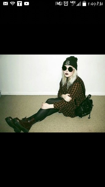 bag red and black plaid goth shoes sunglasses