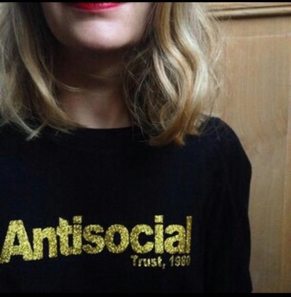 blouse antisocial black shirt sweater gold