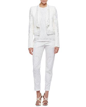 Roberto Cavalli Embroidered Blazer, Printed Silk Tank & Skinny Tonal-Print Pants