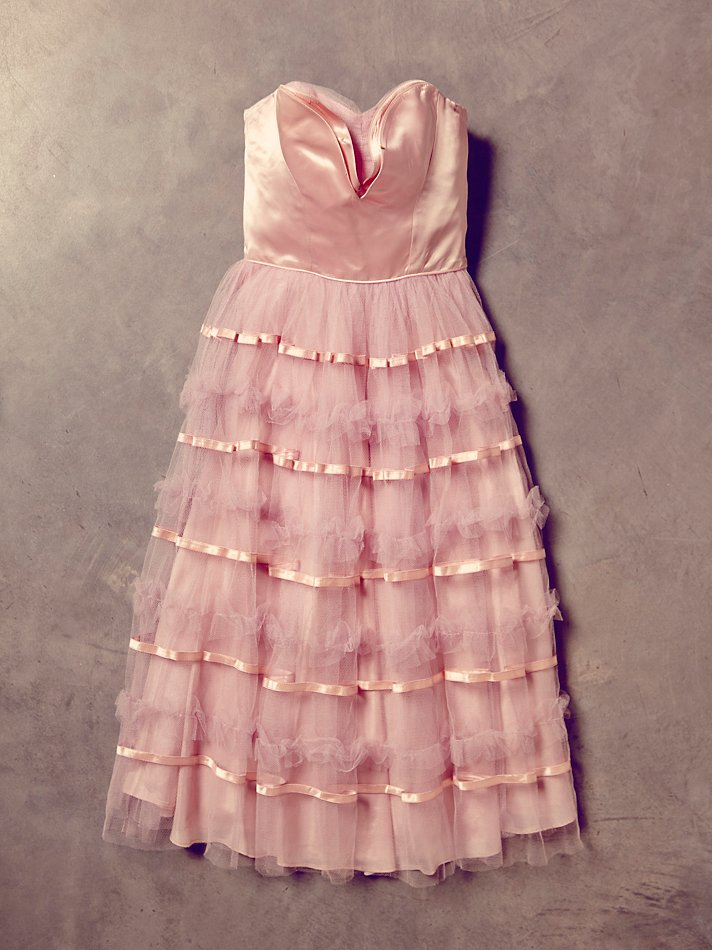 free people womens vintage strapless tulle dress