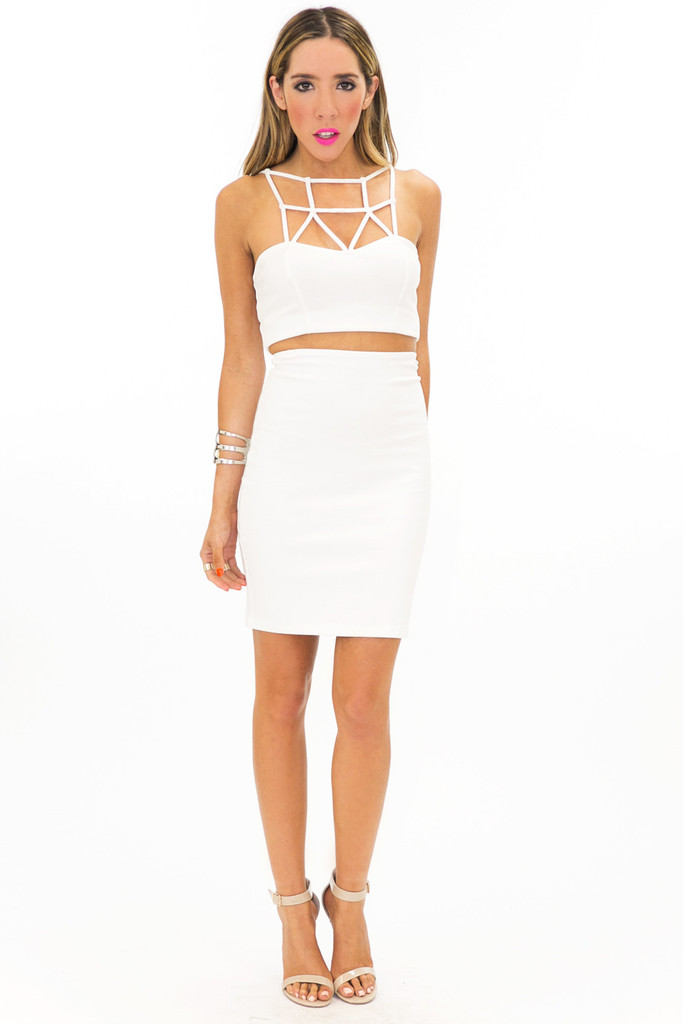 PONTI HIGH WAISTED SKIRT - White | Haute & Rebellious