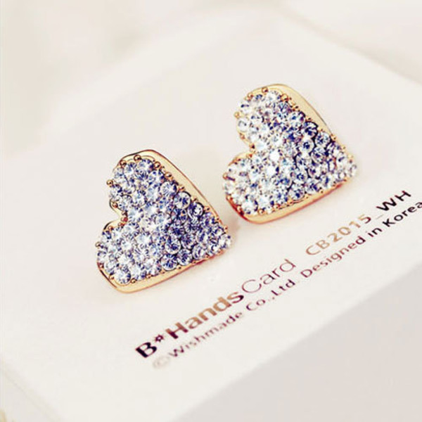 jewels earrings heart shape sweet rhinestones