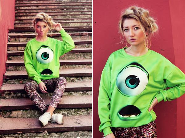 shirt romwe sweatshirt print green bag