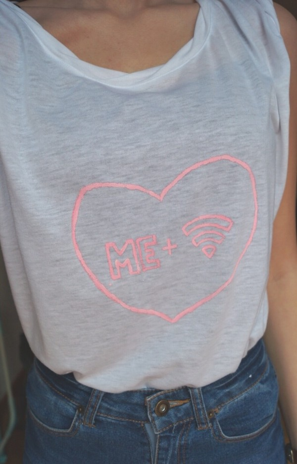 shirt white pink t-shirt heart shorts me and wifi grey crewneck sweater graphic tee wifi tank top