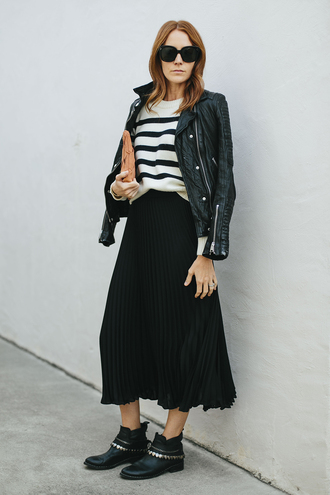 could i have that blogger skirt jacket sweater shoes sunglasses bag clutch black leather jacket pleated skirt midi skirt tumblr stripes striped sweater black skirt pouch black jacket leather jacket fall outfits