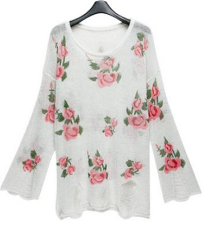 White Slash Flowers Print Knit Long Sleeve Sweater