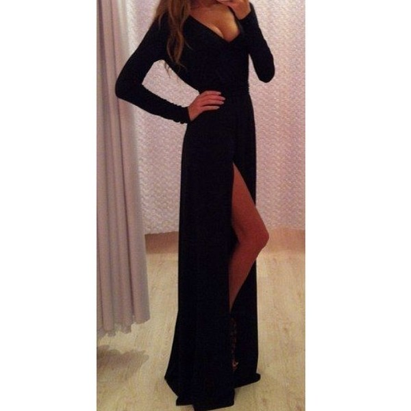 dress style fashion slit ootd look of the day outfit maxi dress black dress little black dress