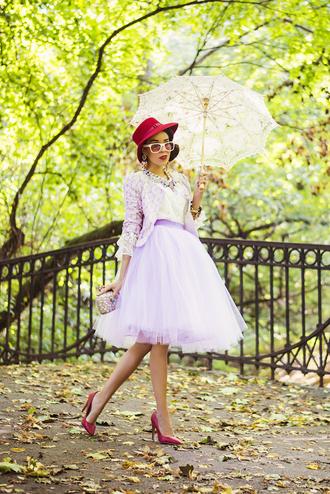 macademian girl blogger jacket top bag jewels sunglasses tulle skirt red heels