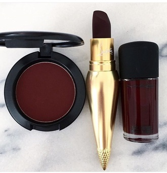 make-up lipstick louboutin dark lipstick dark nail polish burgundy party make up