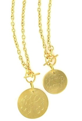 TOGGLE MONOGRAM DISC NECKLACE