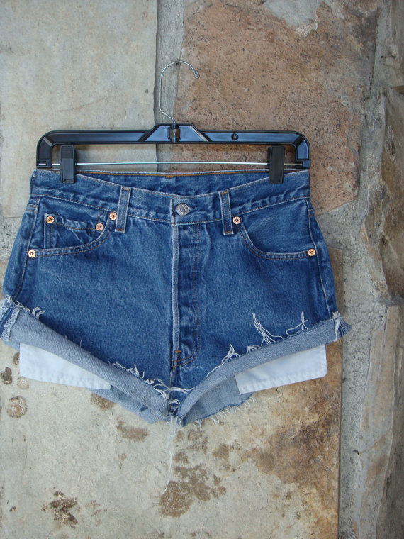 80s LEVI'S 501s CUTOFFS vintage denim high by CherryBombVintage77