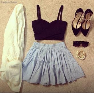 tank top clothes black crop top crop tops black skirt blue skirt blue bleue vest veste white blanche shoes jewels sunglasses sweater