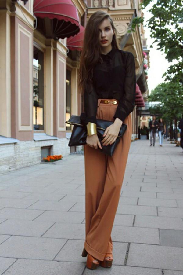 blouse black black blouse see through top pants pants high waisted 60s style bag clutch envelope oversized bag shoes sandals heels summer wooden heel sandal