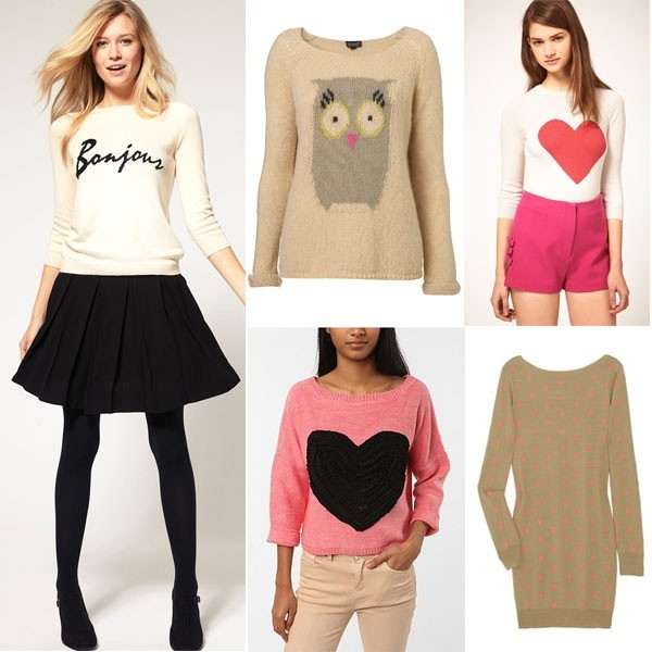 sweater heart owl sweater cute knitwear knitted sweater pink trendy bonjour white