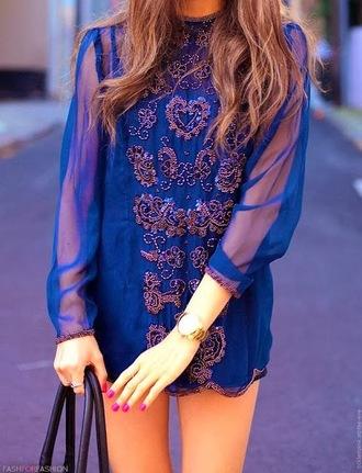 dress blue bedazzled summer summer dress bright boho bohemian boho dress vibrant gorgeous amazing sheer formal fancy