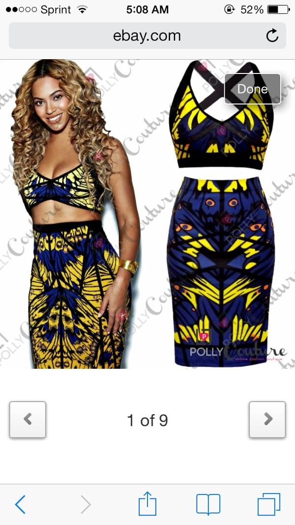 dress blue muticolored beyonce beyonce two-piece midi skirt skirt crop tops blue dress yellow dress twopiecedress crop tops