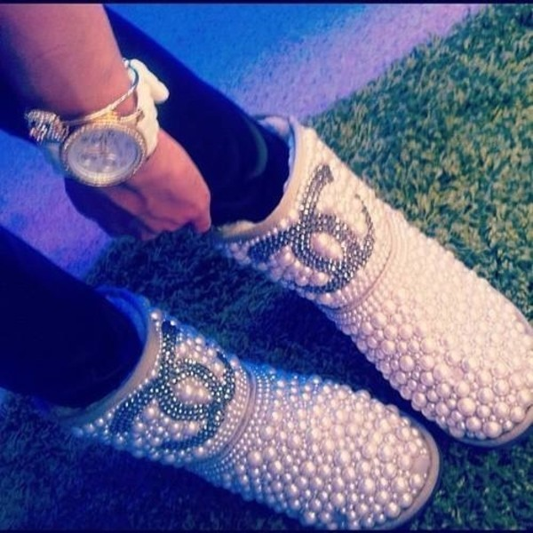 shoes ugg boots pearl white shiny ugg boots pearl studs pretty cute jewels jeweled bejeweled boots ugg boots ugg boots