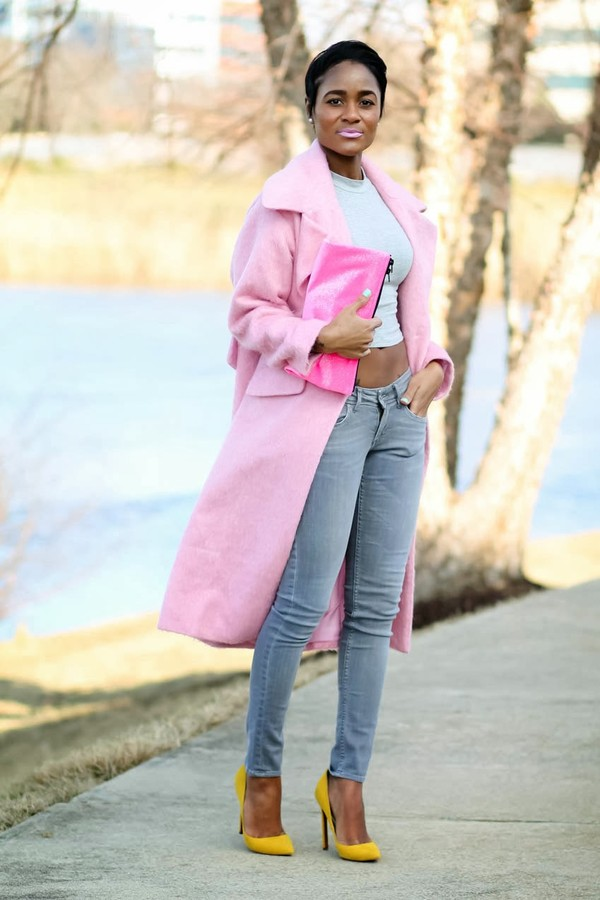 the daileigh coat jeans t-shirt bag shoes