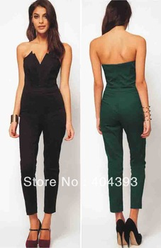 new 2014 fashion strapless V neck backless princess sexy ankle length  bodycon jumpsuit robes dresses 94-in Jumpsuits & Rompers from Apparel & Accessories on Aliexpress.com