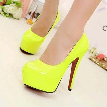 Classics Women's Fluorescent Yellow High Heels Platform Stiletto Pump Shoes 1nJ on Wanelo