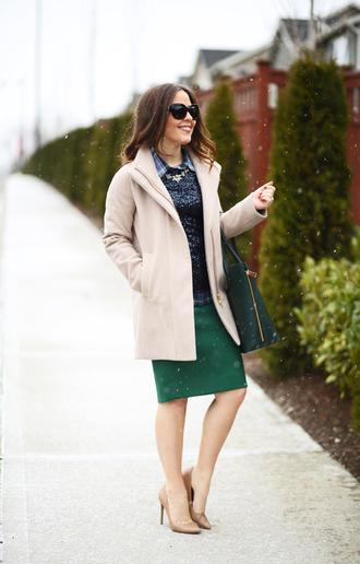 dress corilynn blogger shirt top coat skirt bag jewels shoes sunglasses sequin shirt beige coat midi skirt green skirt green bag black sunglasses thanksgiving outfit