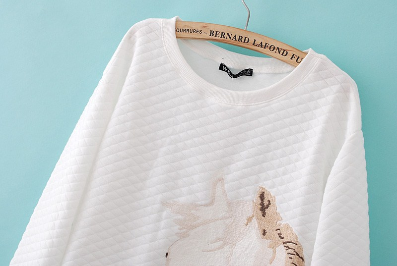 White Long Sleeve Horse Embroidered Slim Sweatshirt - Sheinside.com