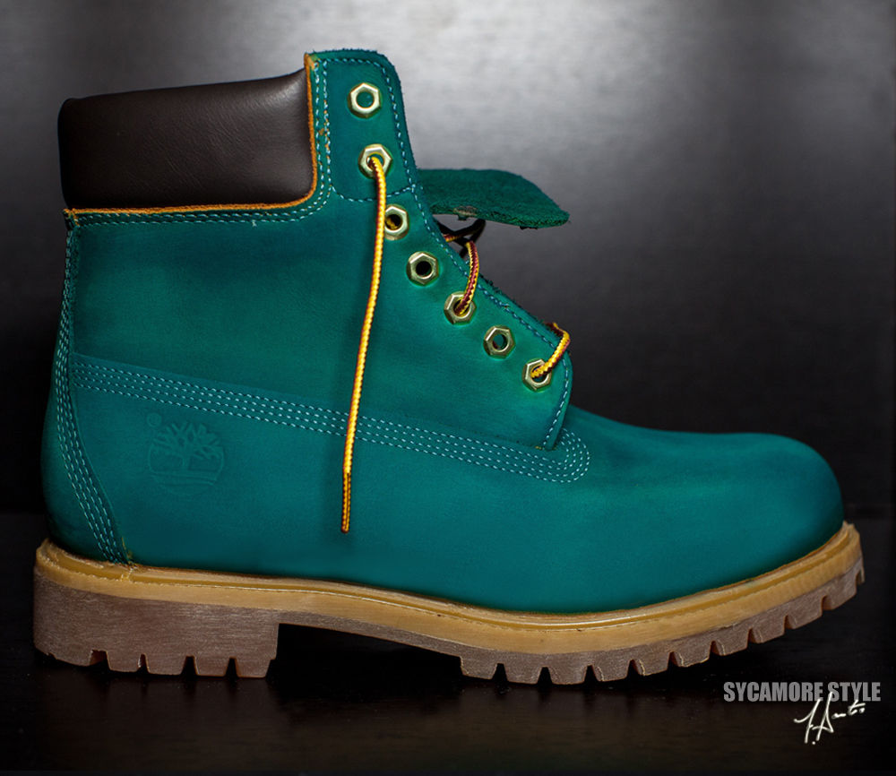 "Custom Dyed SYCAMORE STYLE ""Big Apple"" Green Timberland Boots 