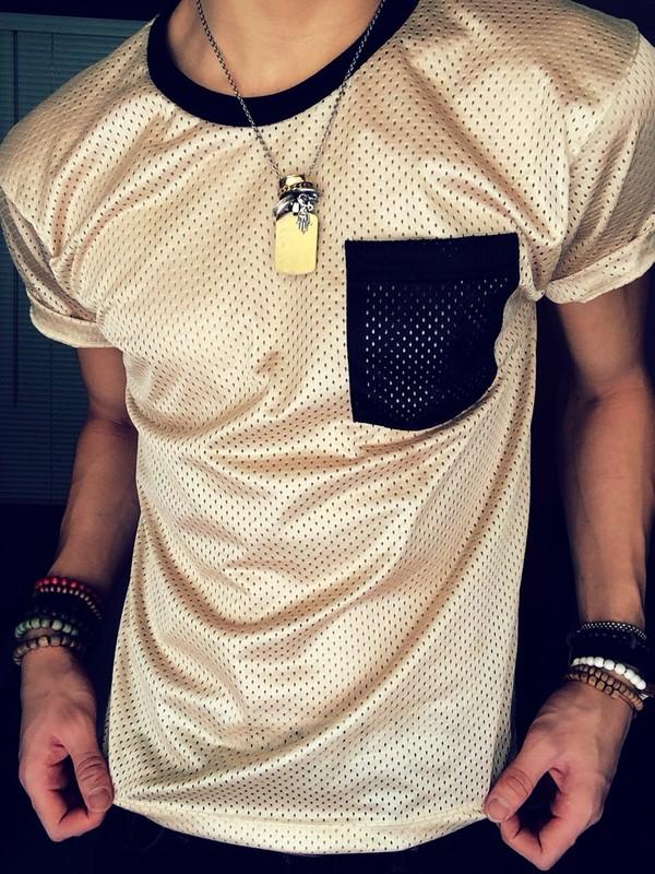 t-shirt sportswear gold mesh mens t-shirt pocket t-shirt shirt swag dope jersey black two tone solid top mesh top