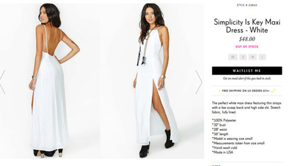 dress white dress maxi dress slit maxi skirt slit dress prom dress formal dress evening dress open back sexy dress