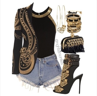 jacket gold bag top jewels shoes cardigan embellished jacket studded jacket black and gold veste pochette black blazer with gold studss with gold studs black shoes