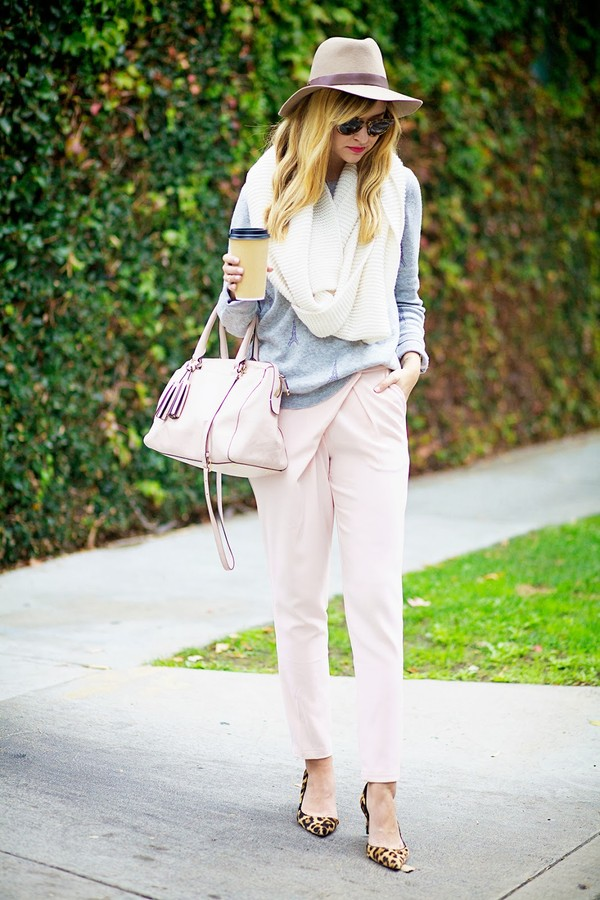 late afternoon pants sweater scarf hat shoes bag jewels sunglasses finders keepers pants high waisted pants blush pants