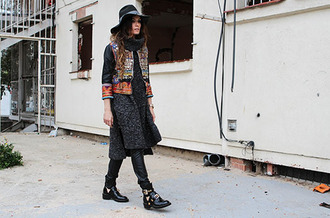 madame rosa blogger jacket cut out ankle boots folk sweater pants hat shoes