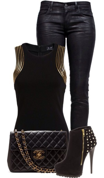 top shirt black gold outfit idea sleeveless