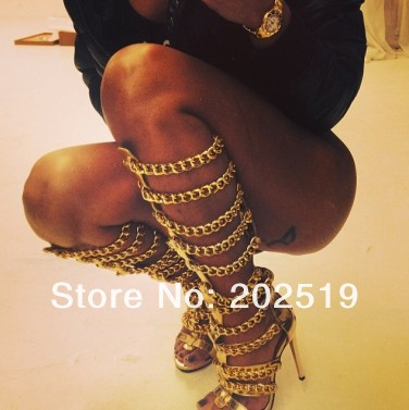 Newest 2013 Free Shipping Christmas Fashion Gold Chains Gladiator Sandals Top Brand High Heel Knee High Boots-in Boots from Shoes on Aliexpress.com