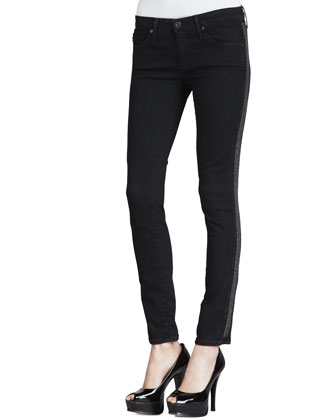 AG Adriano Goldschmied The Remi Shimmer-Side Tuxedo Ankle Jeans - Neiman Marcus