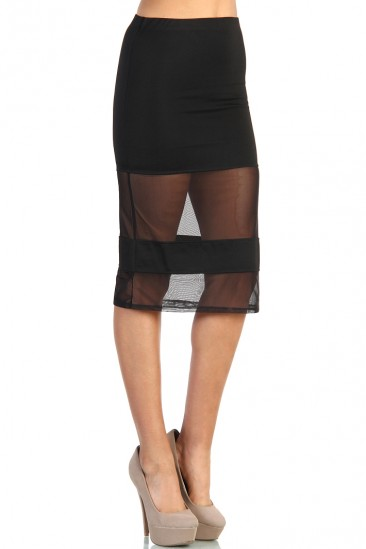 LoveMelrose.com From Harry & Molly | Mesh Panel Pencil Skirt - Black