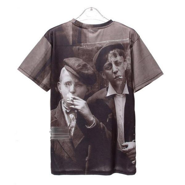 2013 Mr GUGU Miss GO  retro smoking boy photos brand men's shirt fashion designer t shirt Digital printing cotton casual  tag-in T-Shirts from Apparel & Accessories on Aliexpress.com
