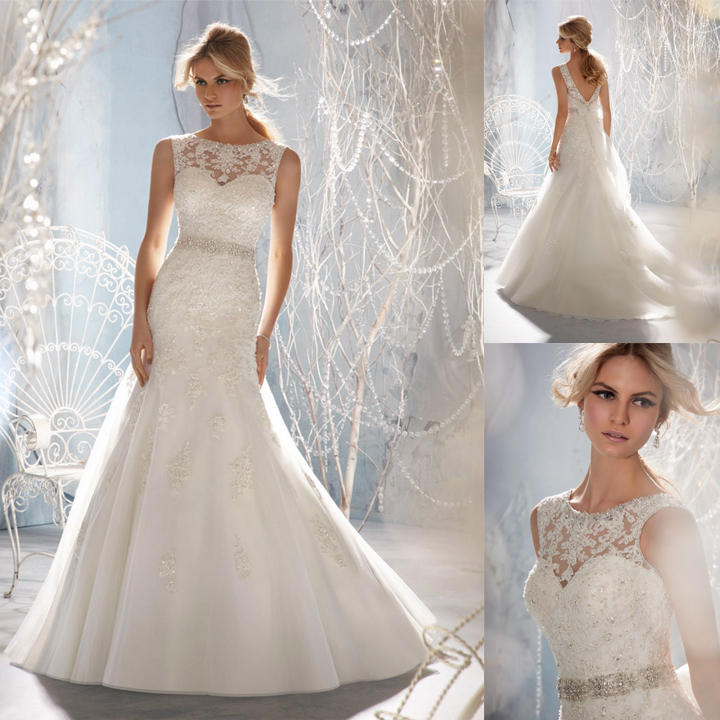 2014 vestido de noiva Free Shipping Appliques Crystals Open Back Lace White Mermaid Long Wedding Gowns Dresses Bridal Dress 1957-in Wedding Dresses from Apparel & Accessories on Aliexpress.com