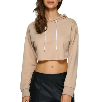 sweater nude beige cool crop tops crop hoodie fashion rose wholesale