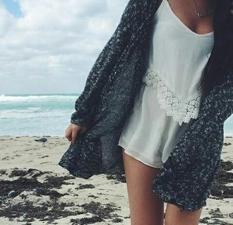 romper white laced cardigan grey