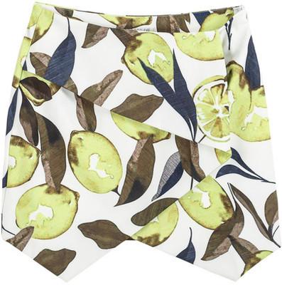 Green Lemon Print Bodycon Skirt - Polyvore