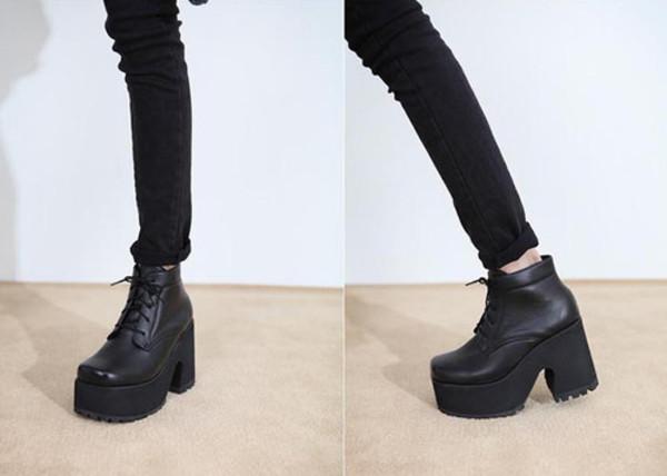 shoes boots leather black platform shoes